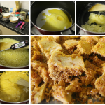 Step by step photos showing the honeycomb recipe creation process