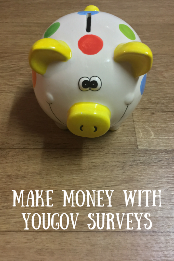 A spotty piggy bank with a text overlay that says make money with YouGov Surveys
