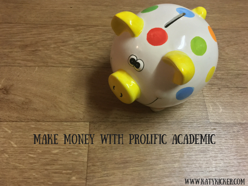 A spotty piggy bank with a text overlay that says make money with Prolific Academic