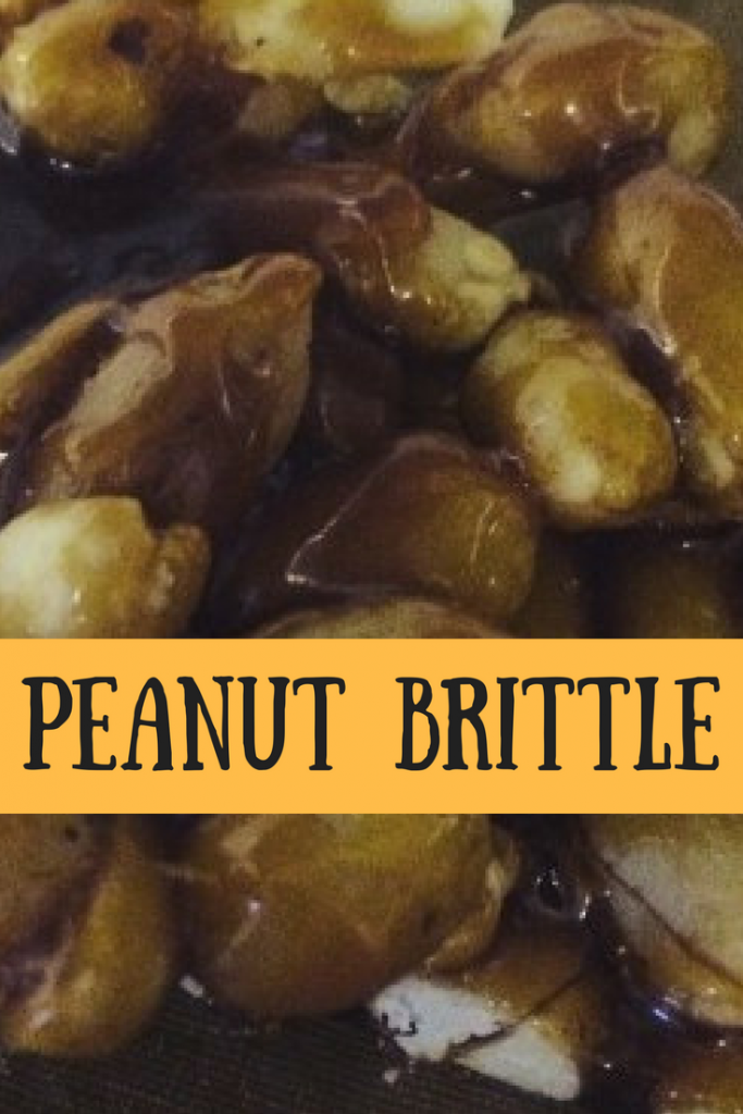 Finished peanut brittle and a text overlay that says peanut brittle
