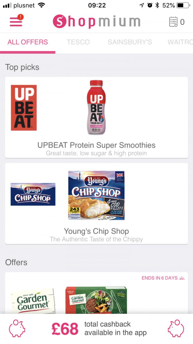 A screenshot of the Shopmium app