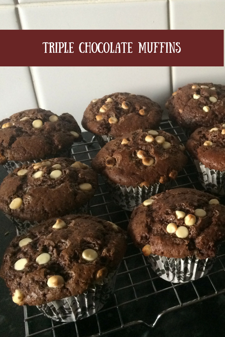 My triple chocolate muffins that take minutes to prepare. Delicious chocolate muffins that are so simple to bake.
