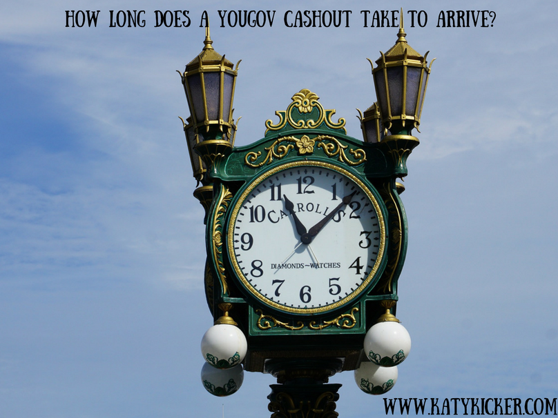A clock tower, displaying a time of 11:09 with a text overlay of how long does a YouGov cashout take to arrive?