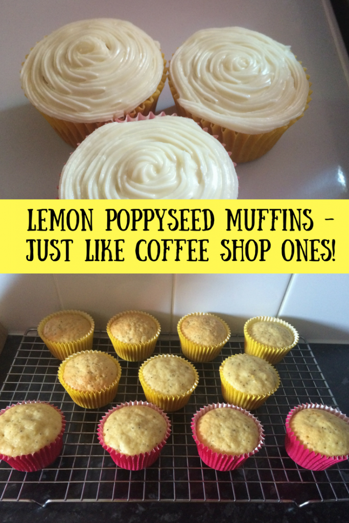 Iced and bare lemon and poppyseed muffins with a text overlay that says lemon poppyseed muffins - just like coffee shop ones!