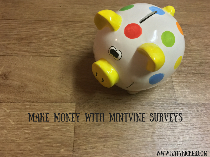 A spotty piggy bank with a text overlay that says Make money with MintVine surveys