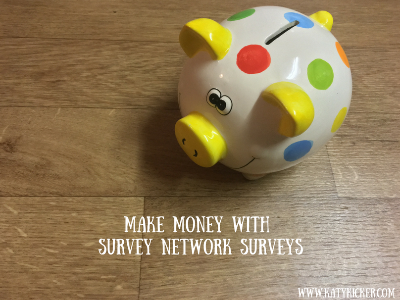 A spotty piggy bank with a text overlay that say make money with Survey Network surveys