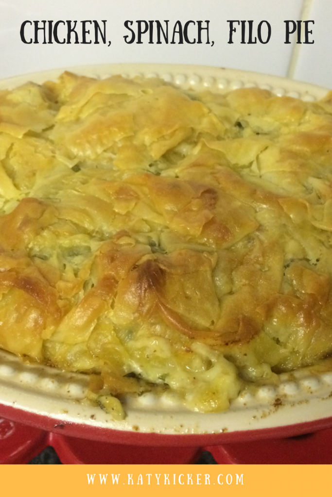 The cooked chicken, spinach & filo pie