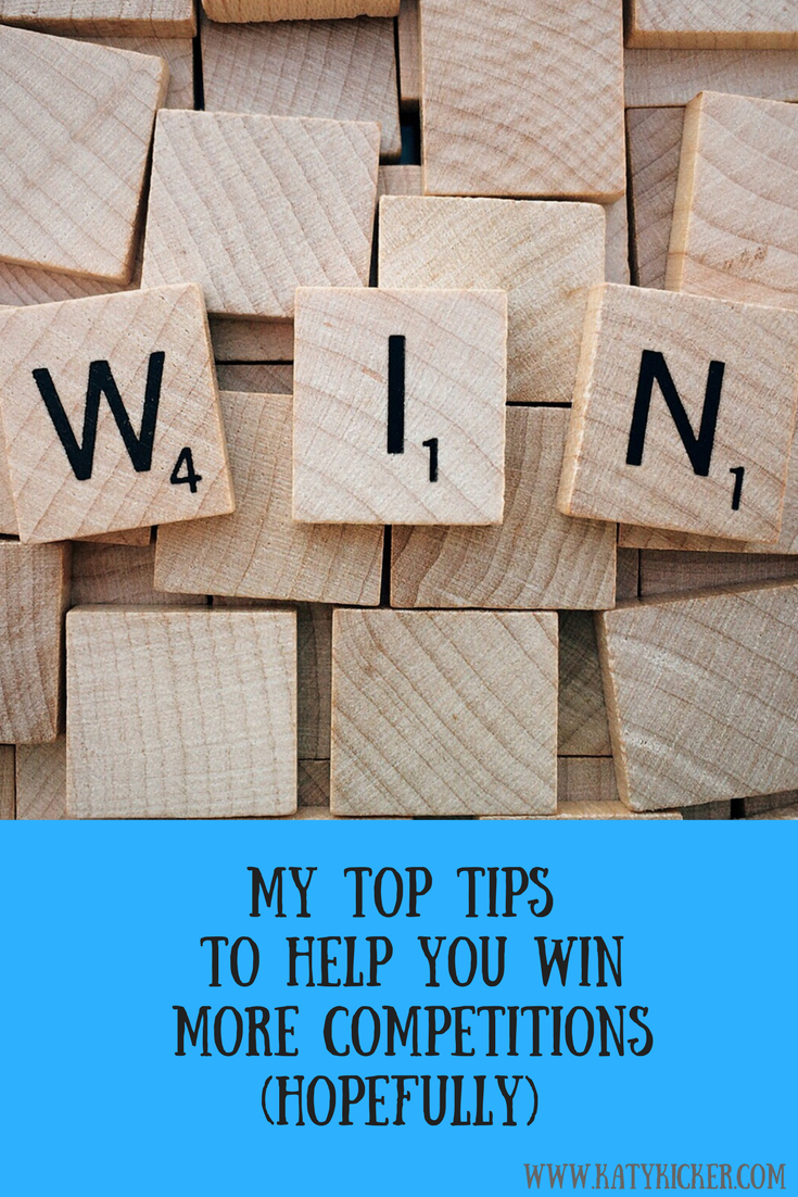 Scrabble letters spelling out win with text overlay that says my top tips to help you win more competitions (hopefully)