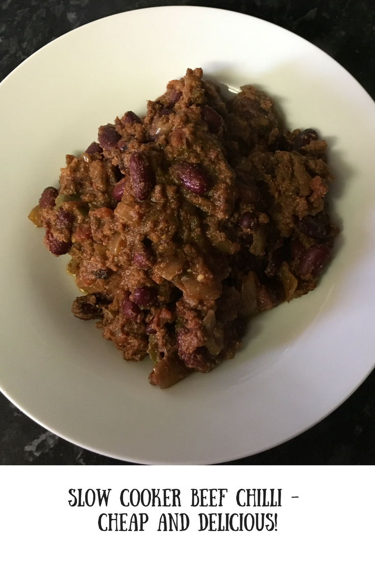 A bowl of slow cooker beef chilli