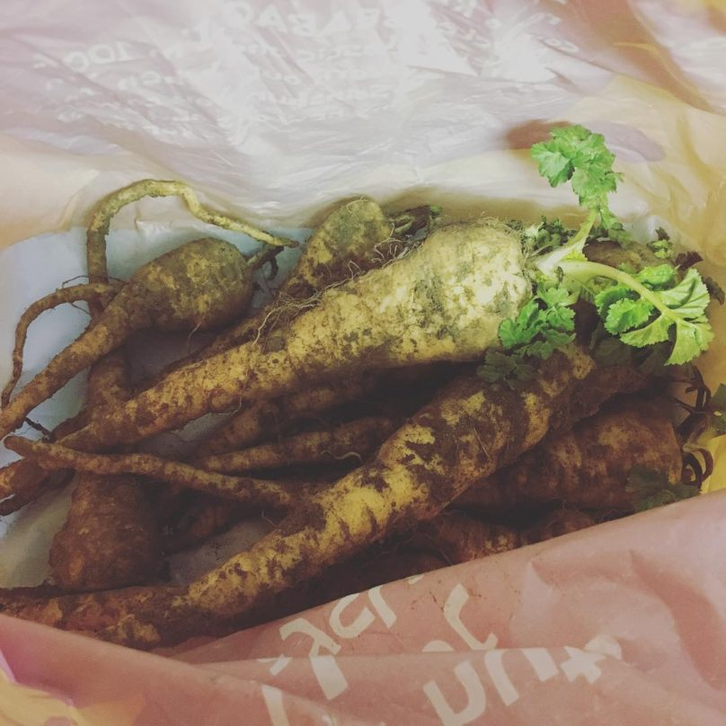 A bag of dirty parsnips