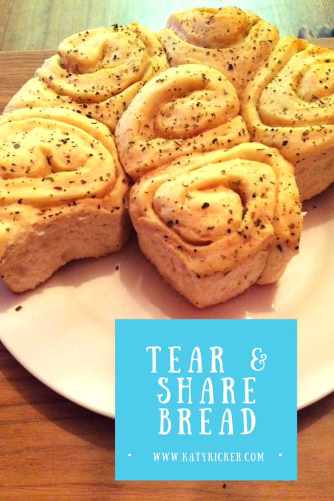 A finished tear and share bread made using a Panasonic bread maker