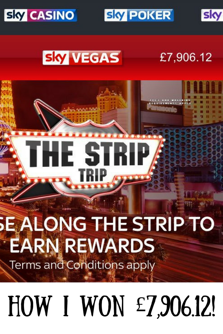 A screenshot of Sky Vegas showing £7,906.12 in the balance and text overlay that says How I won £7,906.12!