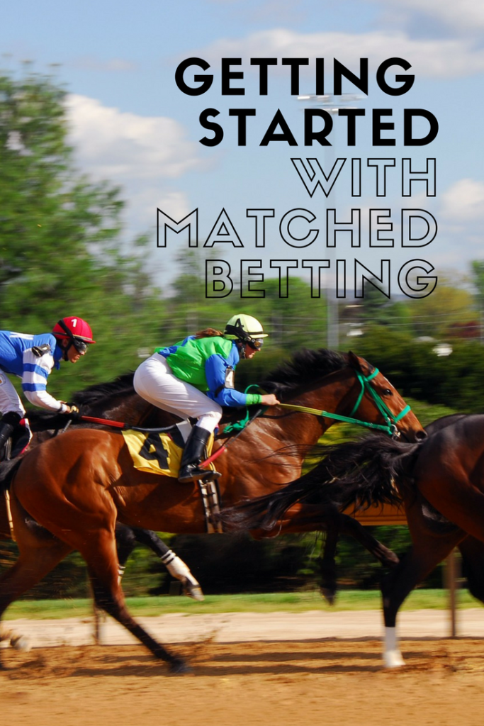 Horses racing and a text overlay that says getting started with matched betting