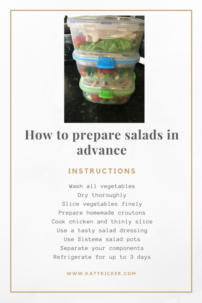 Step by step text instructions to prepare salads in advance