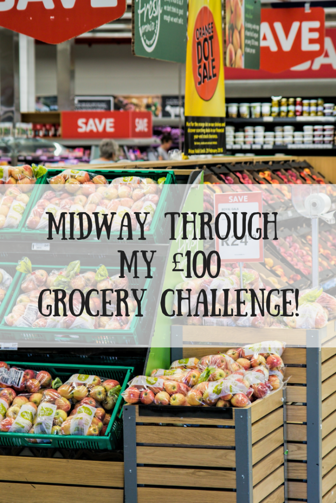 A supermarket with apples in bags and text overlay that says midway through my £100 grocery challenge