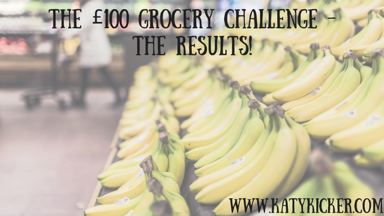 A display of bananas and text displaying The £100 grocery challenge results