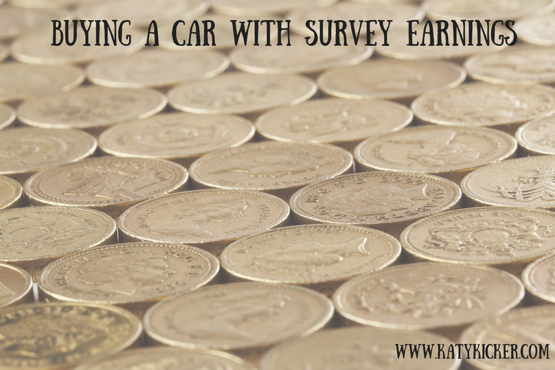 A backdrop of £1 coins with a text overlay of buying a car with survey earnings