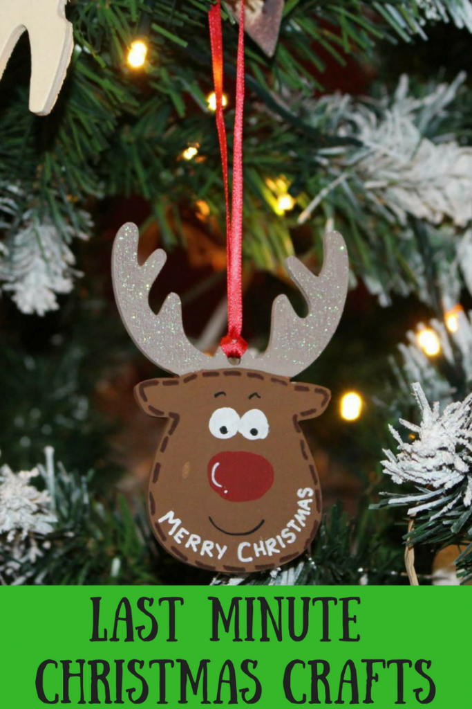 A reindeer Christmas tree ornament that says Merry Christmas and text overlay that says last minute Christmas crafts