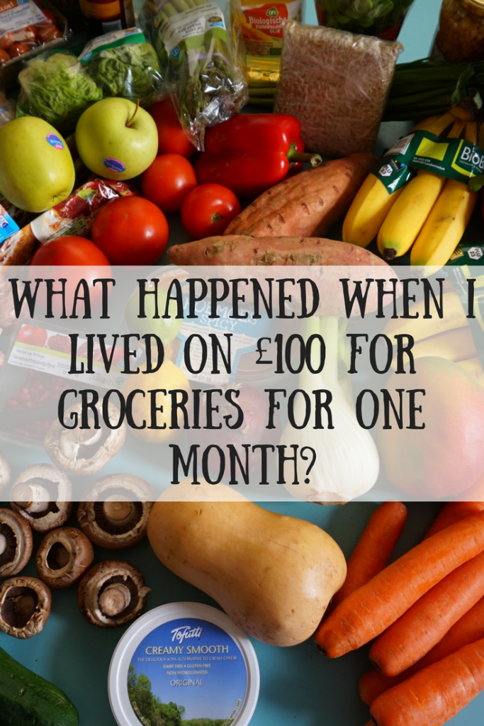 An array of fruit, vegetables and dairy products with text overlay that says what happened when I lived on £100 for groceries for one month?
