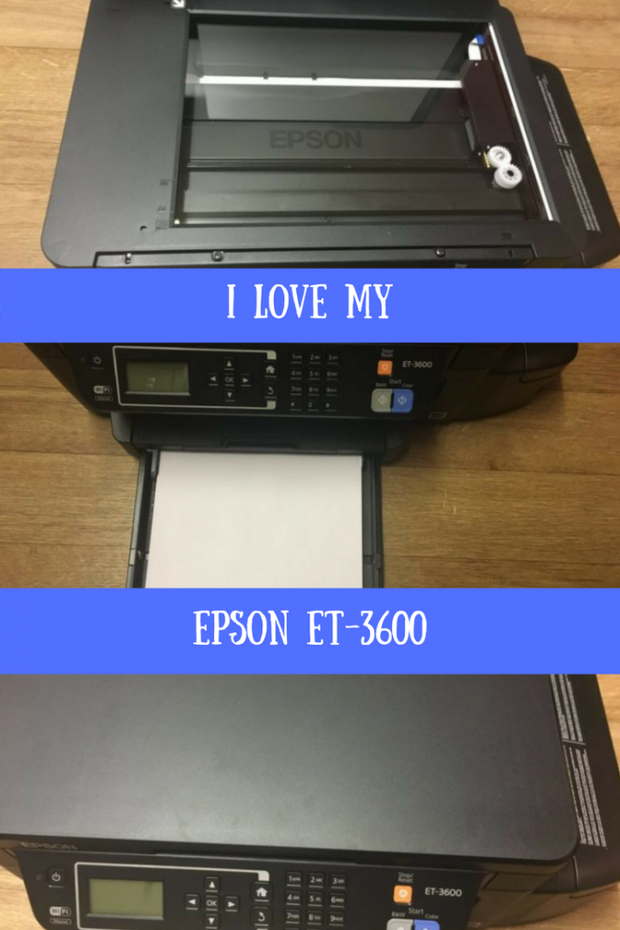 Photos of the Epson ET-3600 showing you the scanner, paper tray and printer