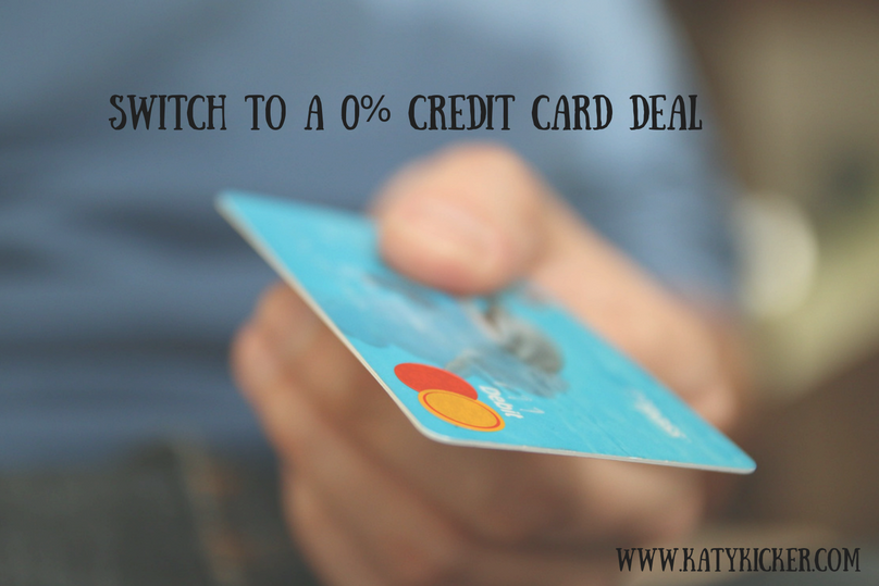 A hand holding a blue credit card and text overlay that says switch to a 0% credit card deal