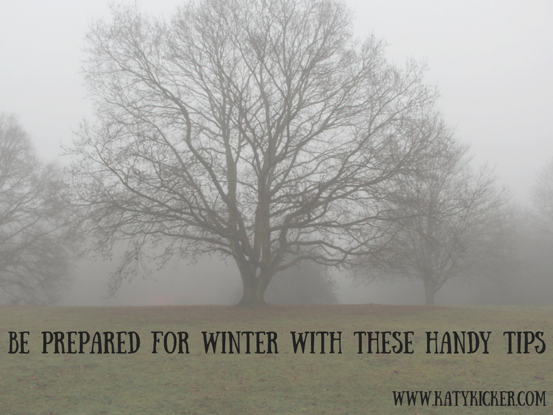A bare tree in the mist with text overlay that says be prepared for Winter with these handy tips