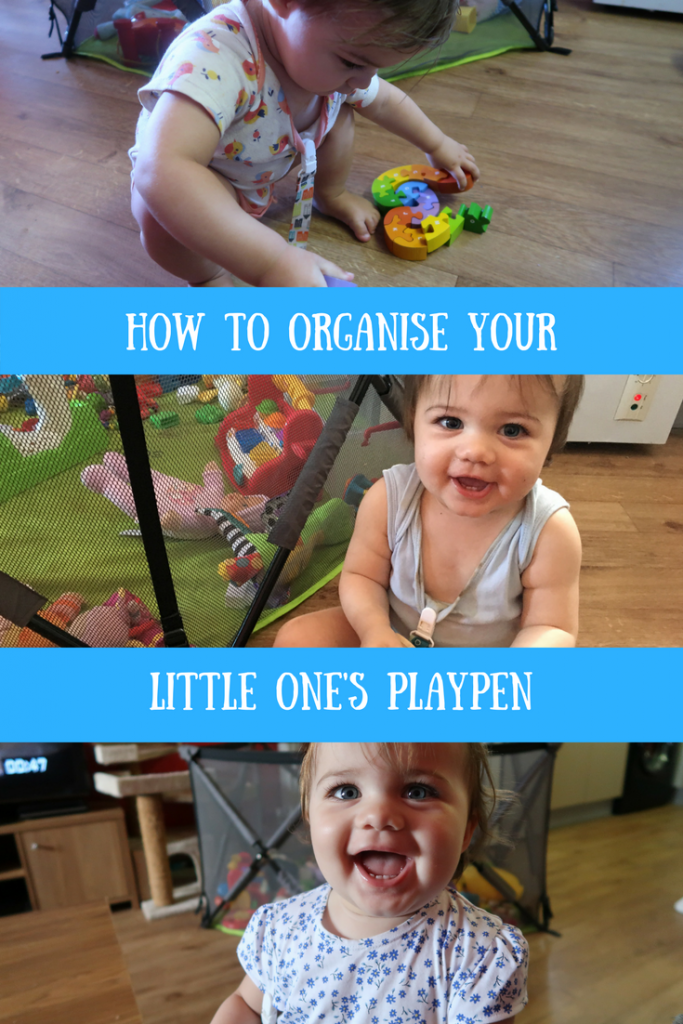 Daisy playing and looking at the camera and a text overlay that says how to organise your little one's playpen
