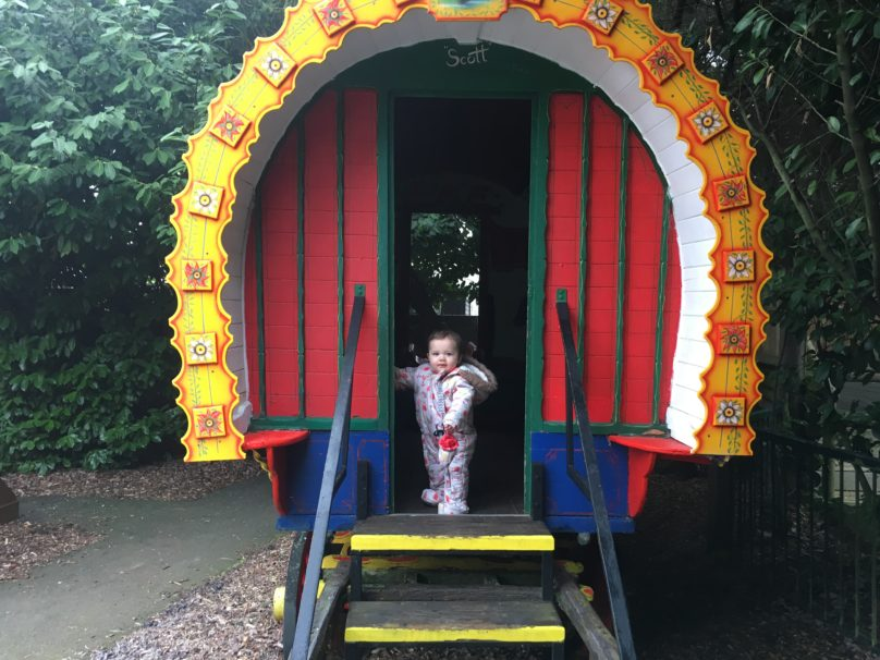 Daisy in a caravan at the zoo