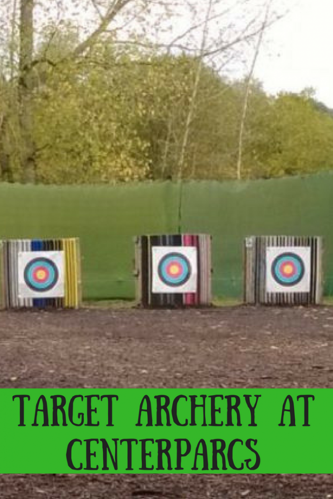 Outside archery targets at Centerparcs with text overlay that says target archery at Centerparcs