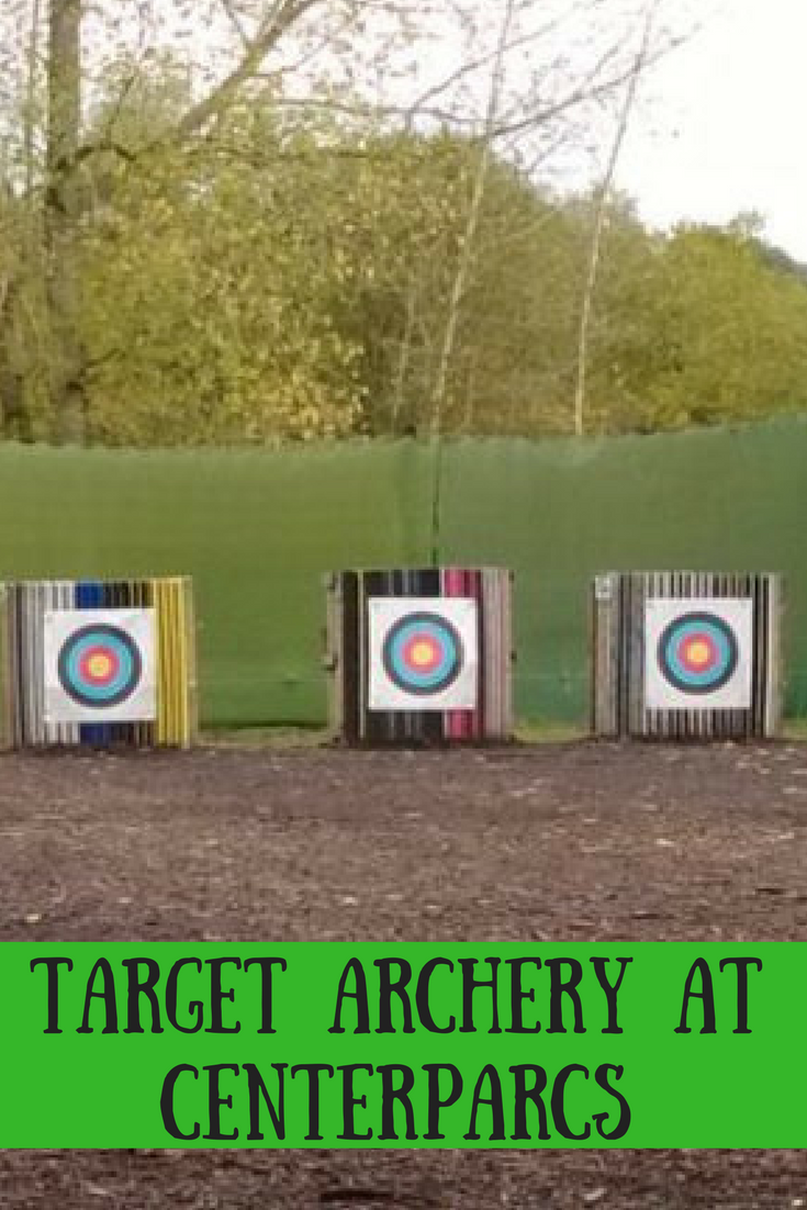 Target archery at Centerparcs. Centerparcs activities. Holiday activities. Fun with the family. Bow and arrows