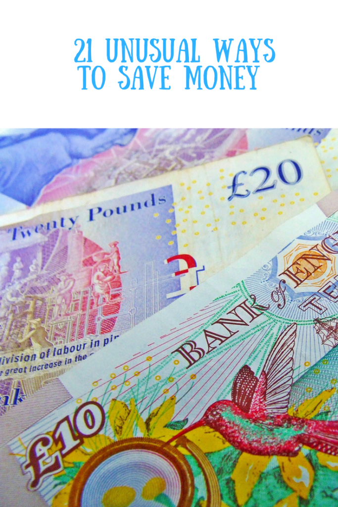 Money with a text overlay saying 21 unusual ways to save money
