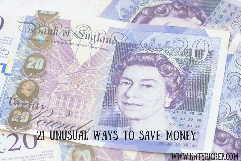 Money backdrop with text overlay that says 21 unusual ways to save money