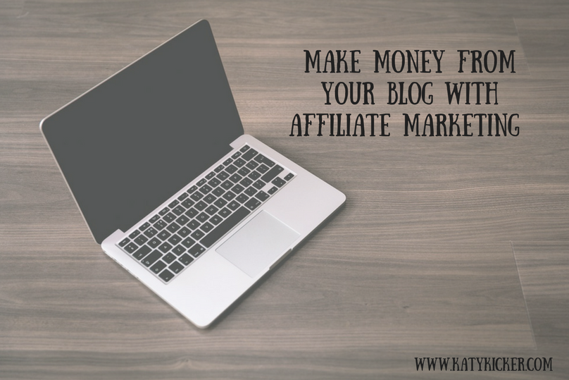 A Macbook and a text overlay of make money from your blog with affiliate marketing