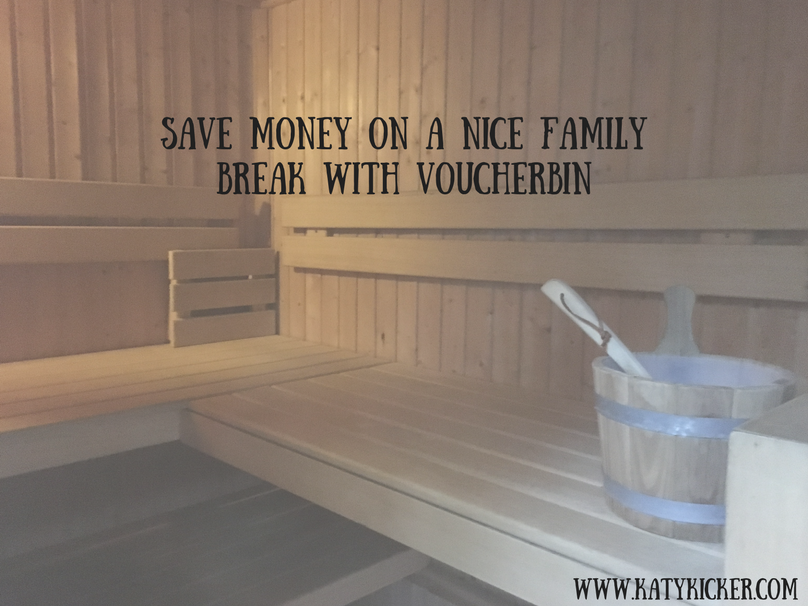 A sauna with a bucket and text overlay that says save money on a nice family break with VoucherBin