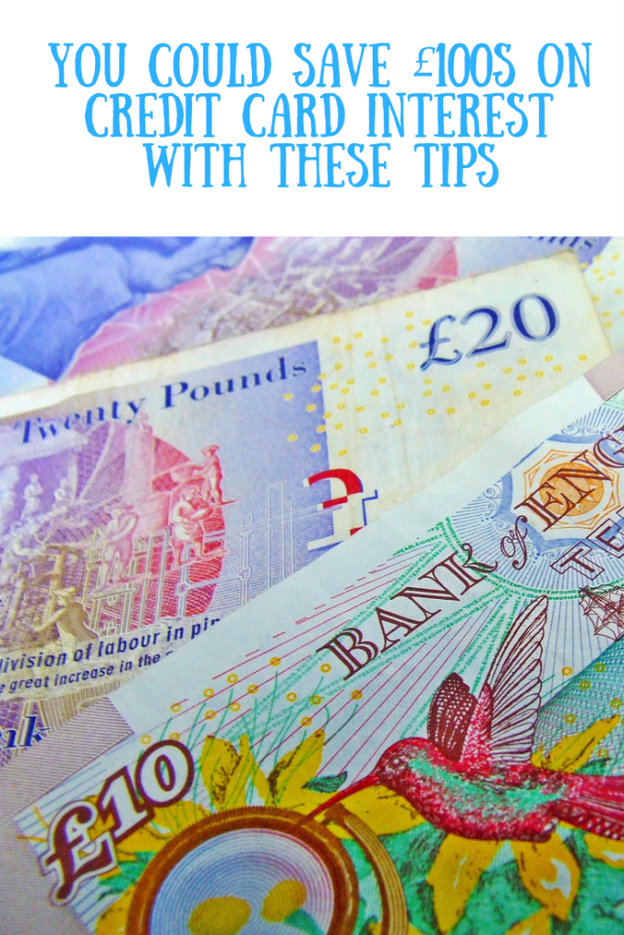 A money backdrop with text overlay that says you could save £100s on credit card interest with these tips.