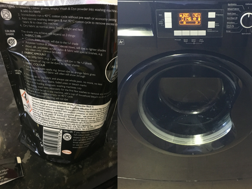 The back of the packet of Dylon fabric dye and a look at my washing machine when the dye was being used in it.