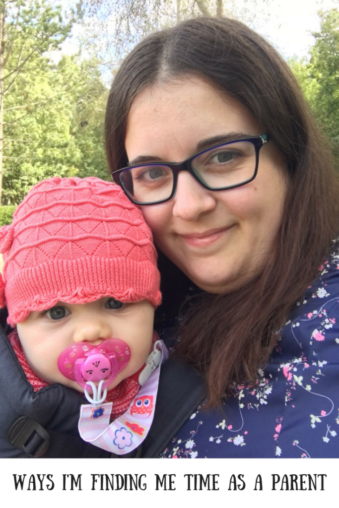 Me and my daughter outside on holiday with a text overlay that says ways I'm finding me time as a parent