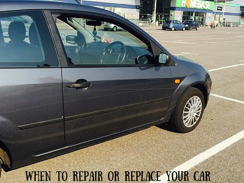 A car parked in a car park with a text overlay that says when to repair to replace your car