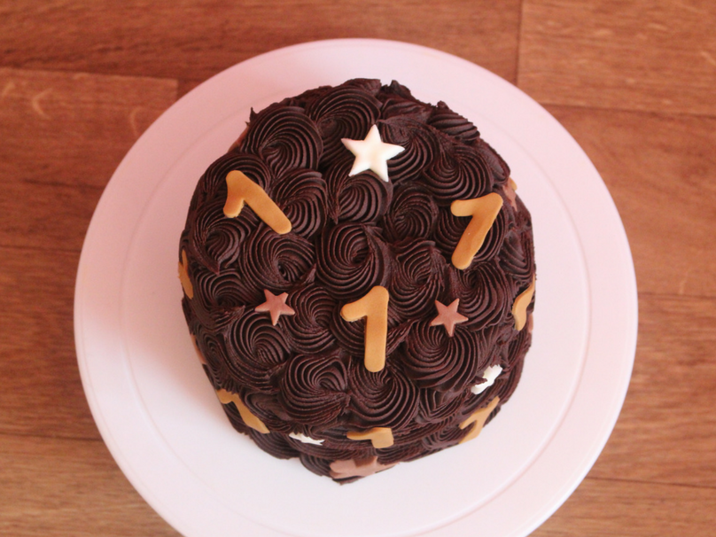 A look at the cake from our DIY cake smash it is decorated with chocolate swirls and stars and the number 1