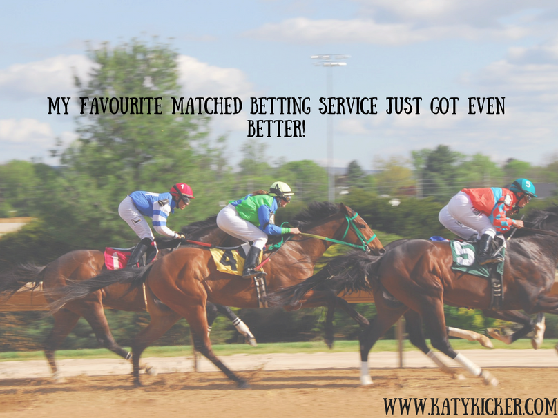 Horses racing and a text overlay that says my favourite matched betting service just got even better