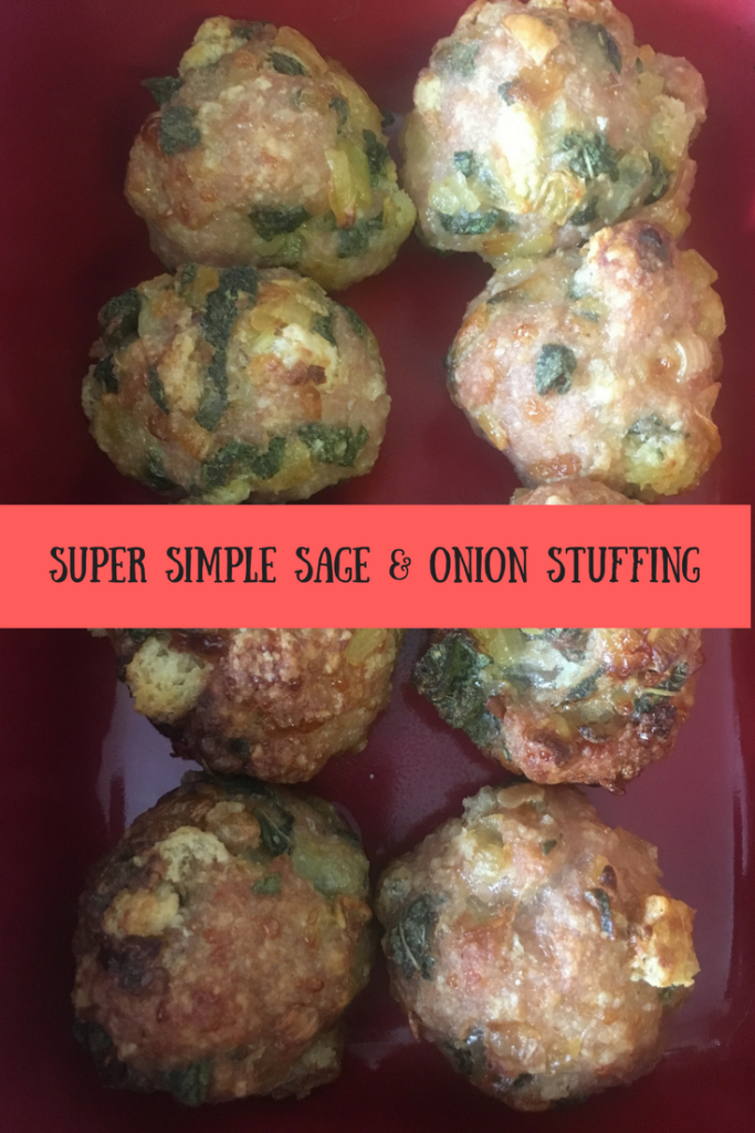 A look at the finished cooked sage and onion stuffing with text overlay that says super simple sage & onion stuffing
