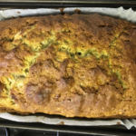 A look at the finished banana bread in the loaf tin liner