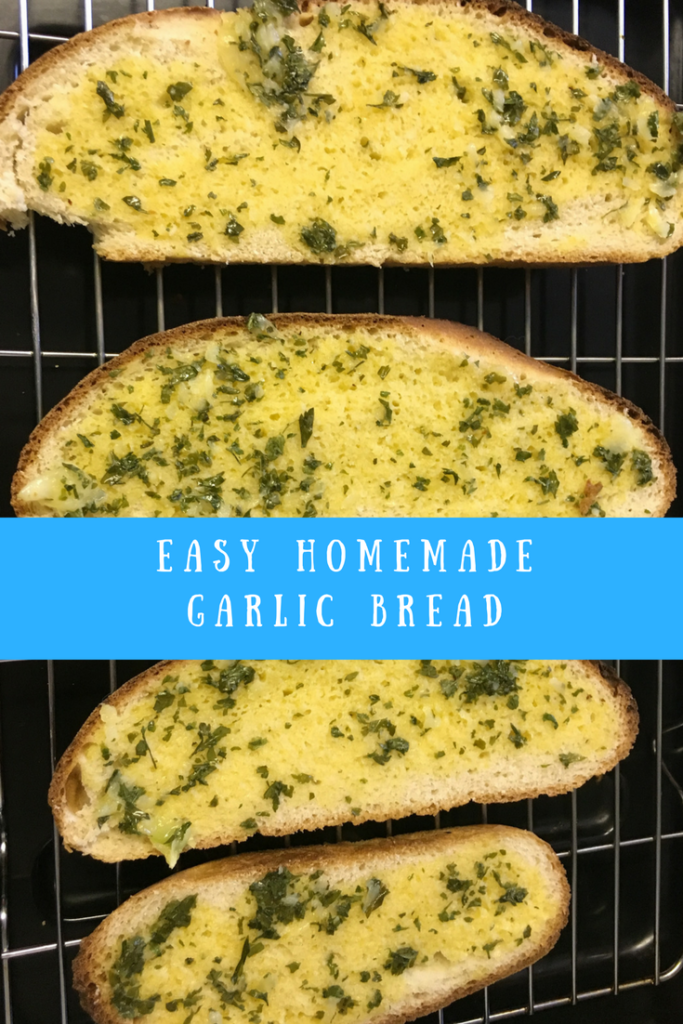 A look at the finished garlic bread and a text overlay that says easy homemade garlic bread