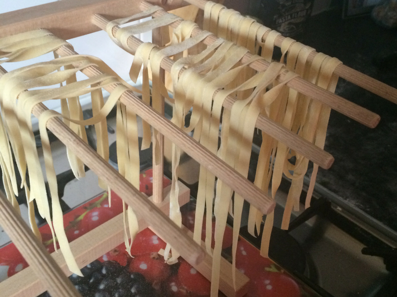 A look at the tagliatelle on my drying rack made from my fresh pasta recipe