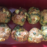 A look at the sage and onion stuffing balls once they are almost cooked