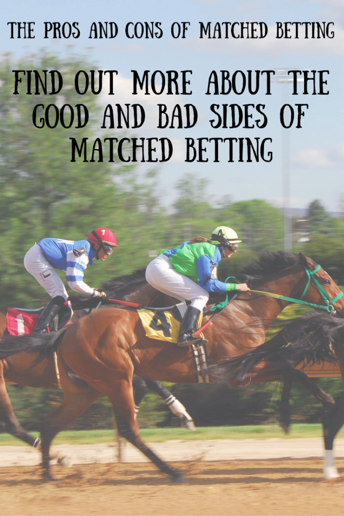 Horses racing and a text overlay that says the pros and cons of matched betting, find out more about the good and bad sides of matched betting