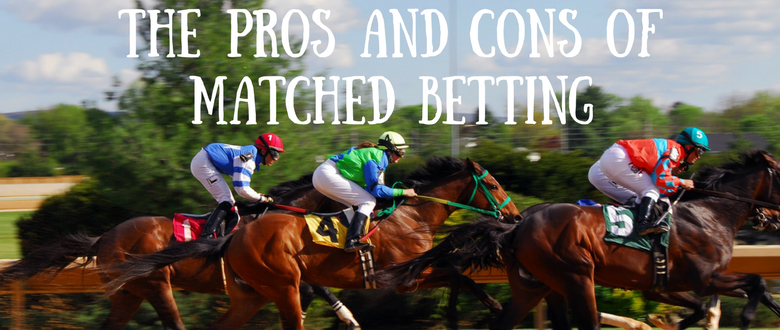 Horses racing and a text overlay that says the pros and cons of matched betting