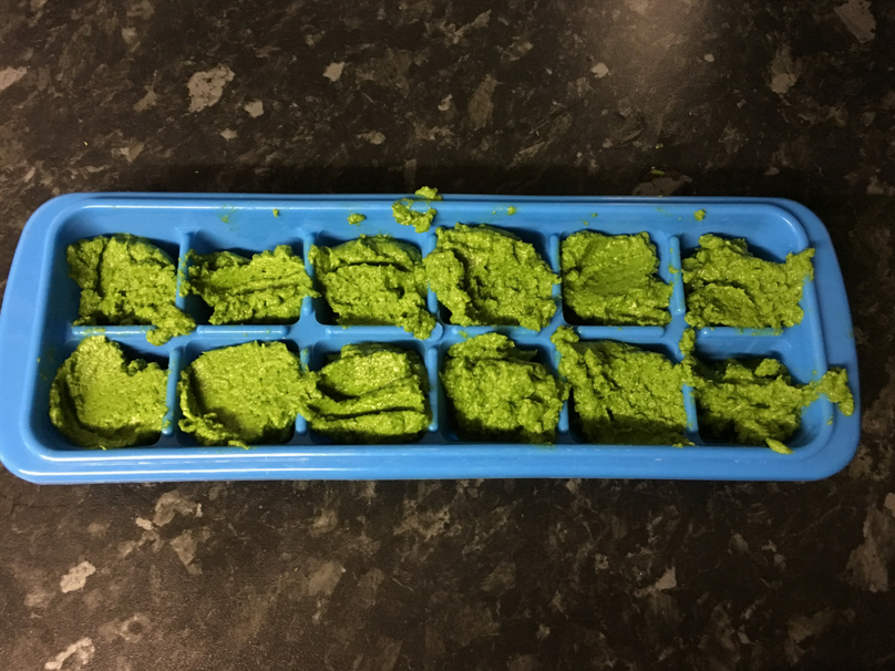 Coriander paste in an ice cube tray