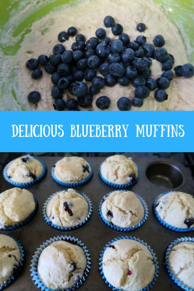 A look at the cooked blueberry muffins in their baking cases