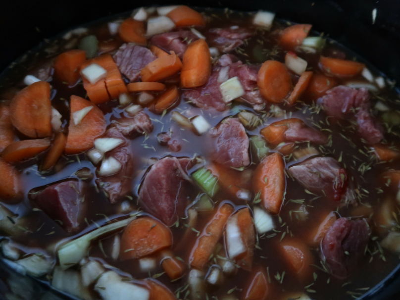 Slow cooker beef casserole - A look at the ingredients once thrown together
